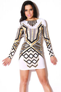Long Fitted White and Gold Party Dress