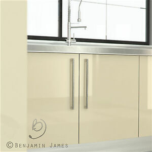 High gloss cream kitchen cabinet door fronts high for Kitchen cabinets 900mm high