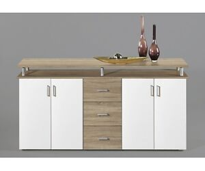 Highboard kommode sideboard eiche s gerau dekor wei for Kommode 180 breit