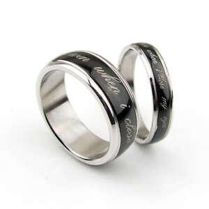 His Amp Her Matching Black Titanium Ring Set Wedding Bands Fashion Custom Engraved