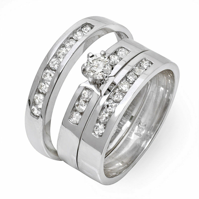 His and Hers 3 PC Trio Diamond Wedding Engagement Ring eBay