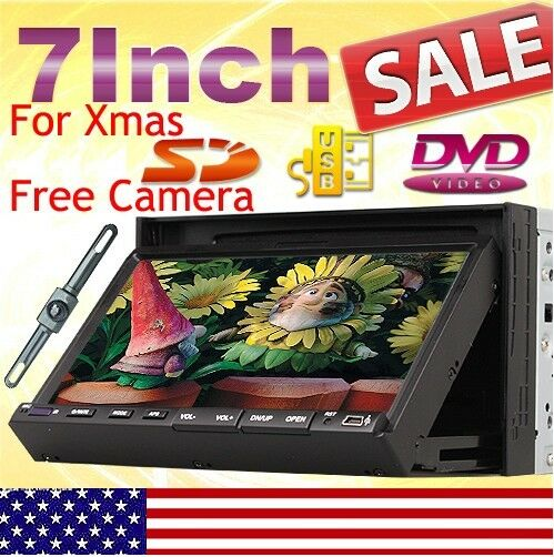 Double Din 7 In Dash Car Stereo DVD Player Ipod Bluetooth+Camera