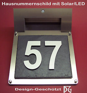 hausnummer hausnummernschild t rschild im 3d design mit solar led beleuchtung ebay. Black Bedroom Furniture Sets. Home Design Ideas