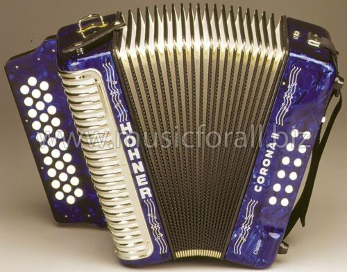 Hohner Corona II 2 Classic Accordion ADG Blue,NEW,Case,Gig Bag,Straps,Worldship! in Musical Instruments & Gear, Accordion & Concertina | eBay