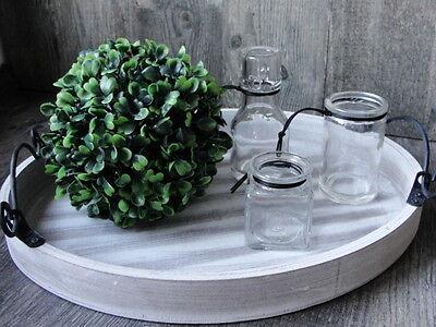 holz shabby chic tablett dekoration teller metall griffe kerzentablett landhaus ebay. Black Bedroom Furniture Sets. Home Design Ideas