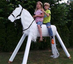 holzpferd holzpony voltigierpferd holz pferd pony weiss spielpferd 130 cm ebay. Black Bedroom Furniture Sets. Home Design Ideas