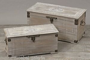 holztruhe w schetruhe truhe massiv holz gartentruhe gartenbox holzbox grau wei ebay. Black Bedroom Furniture Sets. Home Design Ideas