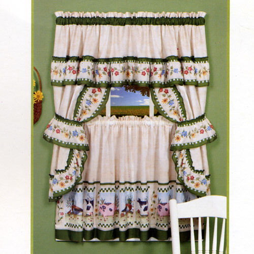 Homesead Pig Cow Duck Farm Kitchen Curtain Set Beige And