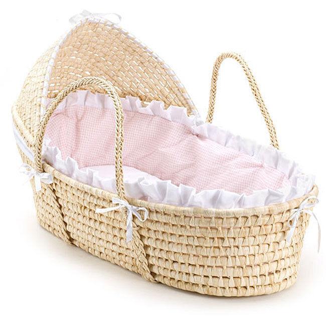 Handmade Moses Basket Bedding : Hooded moses basket baby bassinet natural pink bedding