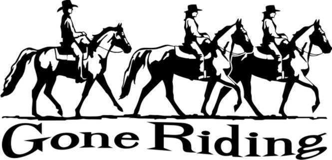 """Horse Gone Riding Equestrian Trailer Sign Decal 12"""""""