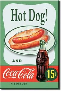 hot dog coca cola usa k hlschrank magnet vintage style magnetschild ebay. Black Bedroom Furniture Sets. Home Design Ideas