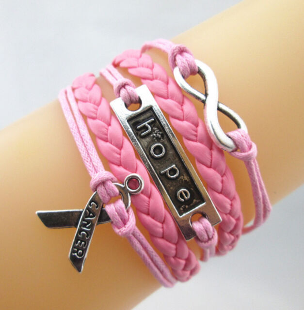 Hot Infinity Hope Breast Cancer Awareness Charms Leather