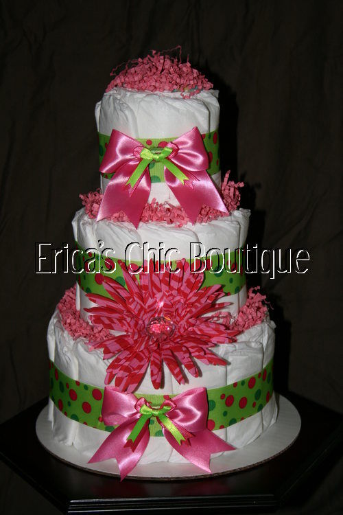Hot Pink Lime Green Daisy Baby Girl Diaper Cake Gift