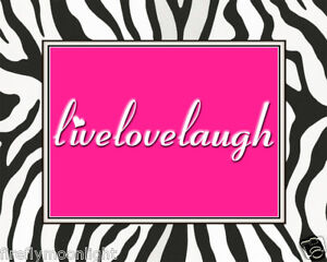 Live Love Laugh Picture on Hot Pink Zebra Live Love Laugh Wall Art Print   Ebay