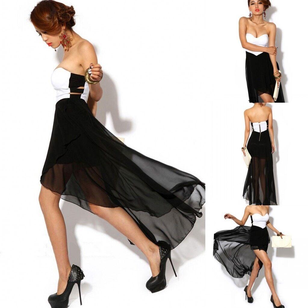 Hot Sexy Women Asymmetric Cocktail Clubwear Party Evening Strapless Maxi Dress