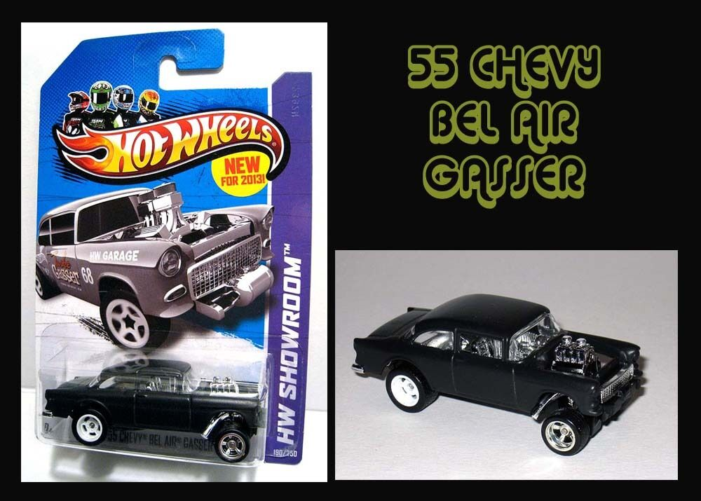 Hot Wheels 2013 Flat Black Classic Super `55 Chevy Bel Air Gasser Real