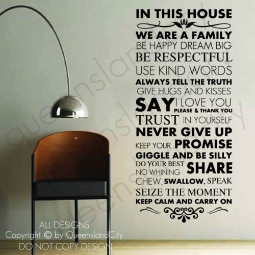 ~ House Rules ~ Wall Quote Family Inspirational Art Decal Vinyl Sticker in Home & Garden, Home Decor, Decals, Stickers & Vinyl Art | eBay