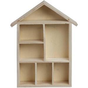 house shaped wooden shelf box storage craft home. Black Bedroom Furniture Sets. Home Design Ideas
