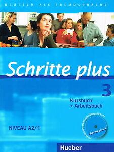 hueber schritte plus 3 kursbuch arbeitsbuch niveau a2 1 mit cd new 3190119139 ebay. Black Bedroom Furniture Sets. Home Design Ideas