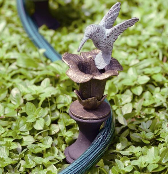 Hummingbird & Flower Hose Guard Guide Verdi Green Bird Garden Stake ...