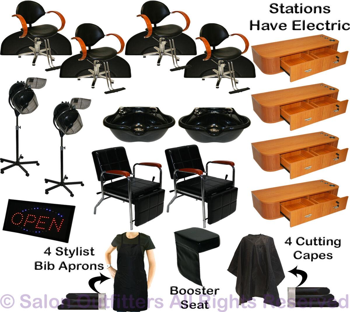 Hydraulic Barber Chair Station Shampoo Bowl Hair Dryer Beauty Salon Equipment