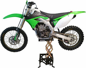 hydraulic moto lift stand dirt bike 80cc 650cc motorcycles storage motocross ebay. Black Bedroom Furniture Sets. Home Design Ideas