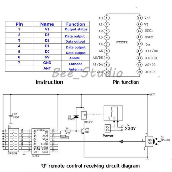 5v 4 key wireless signal rf remote 315mhz receiver module for arduino ebay