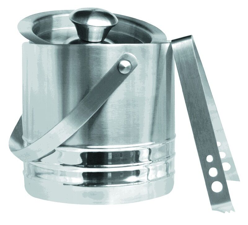 ICE BUCKET STAINLESS STEEL DOUBLE WALL INSULATED   FREE ICE TONGS NEW