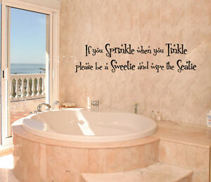 If you sprinkle when you tinkle bathroom 23 quot words vinyl decal wall lettering ebay