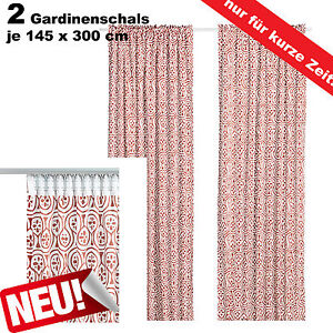 ikea 2 gardinenschals gardinenschal vorhang schlaufenschal gardine rot wei neu ebay. Black Bedroom Furniture Sets. Home Design Ideas
