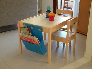IKEA-Childrens-Table-With-2-Chairs-in-Solid-Beach-With-White-Top