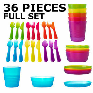 ikea kalas children 39 s plastic tableware set 36 pieces cutlery bowls