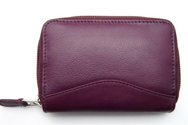 Ili Leather Credit Card Holder Case One Zip Accordion Eggplant New