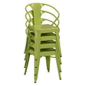 industrial urban style metal green stackable dining kitchen chair set