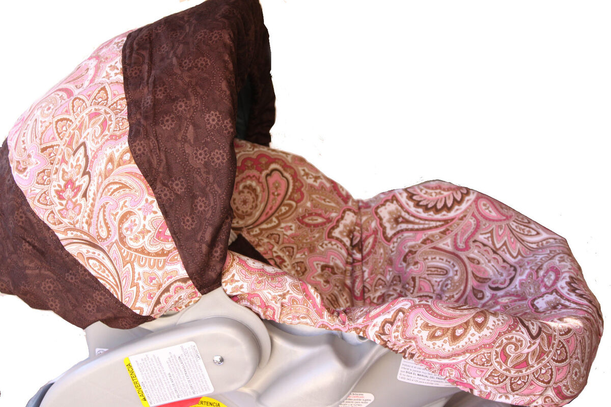 infant car seat cover pink paisley pattern for graco peg perego and. Black Bedroom Furniture Sets. Home Design Ideas