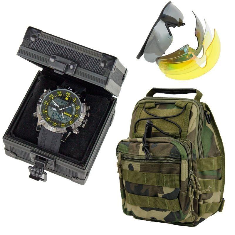 INFANTRY Mens Army Sport Wrist Watch Box Messenger Bag Fanny Waist Packs Goggles