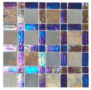 Iridescent copper glass amp stone mosaic tile sample ebay