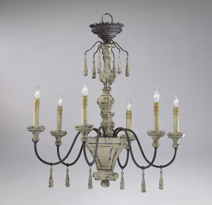 Distressed wood 6 light chandelier provence french French country chandelier