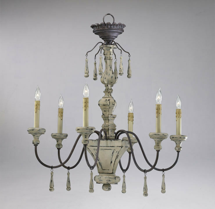 Distressed Wood 6 Light Chandelier Provence French