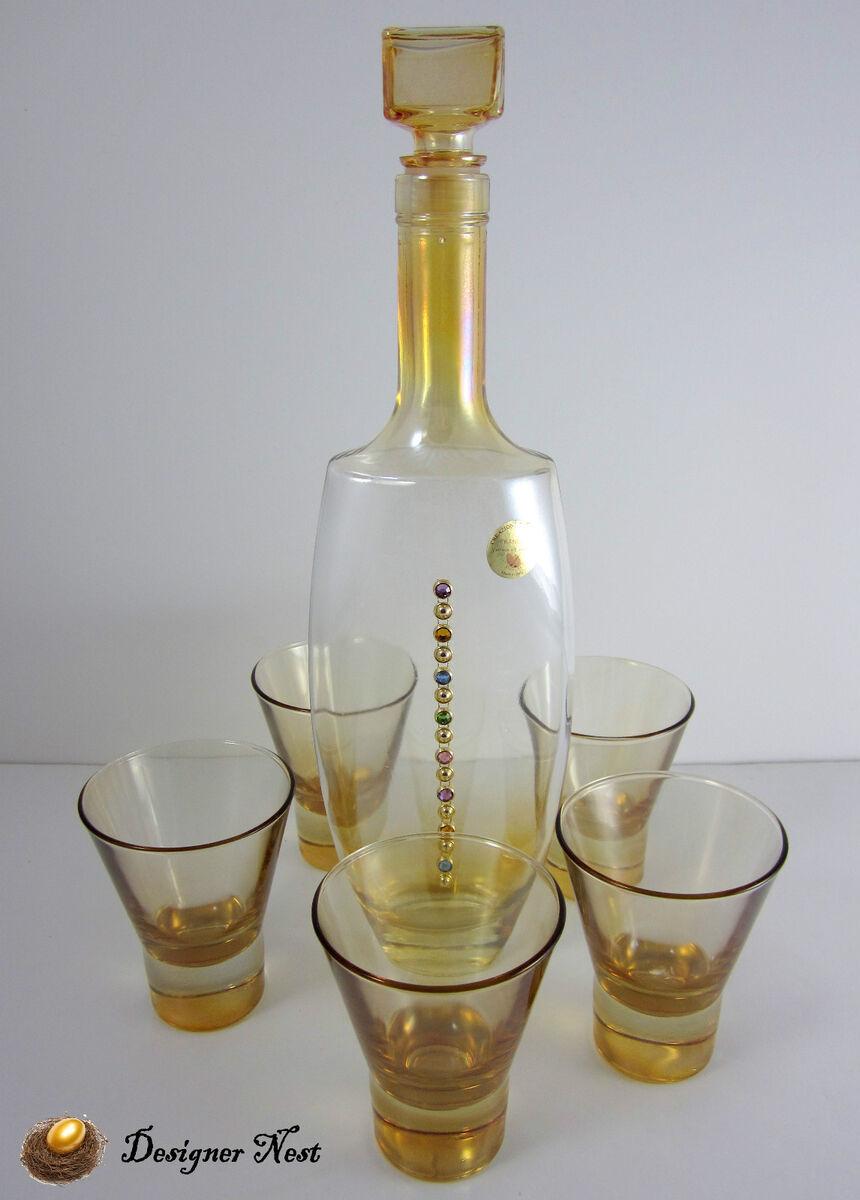 ITALIAN GLASS 6 PIECE DECANTER SET w/ SHOT GLASSES AMBER GOLD GIFT
