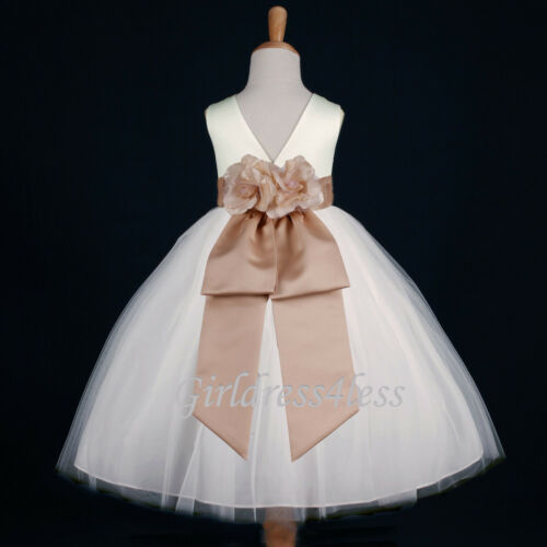 IVORY/CHAMPAGNE WEDDING FLOWER GIRL DRESS 12M-18M 2/2T 3/4 5/6 7/8 9/10 11/12 in Clothing, Shoes & Accessories, Wedding & Formal Occasion, Girls' Formal Occasion | eBay