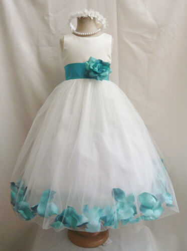 IVORY TEAL GREEN RED PINK BROWN ROSE PETAL PAGEANT WEDDING FLOWER GIRL DRESS in Clothing, Shoes & Accessories, Wedding & Formal Occasion, Girls' Formal Occasion | eBay