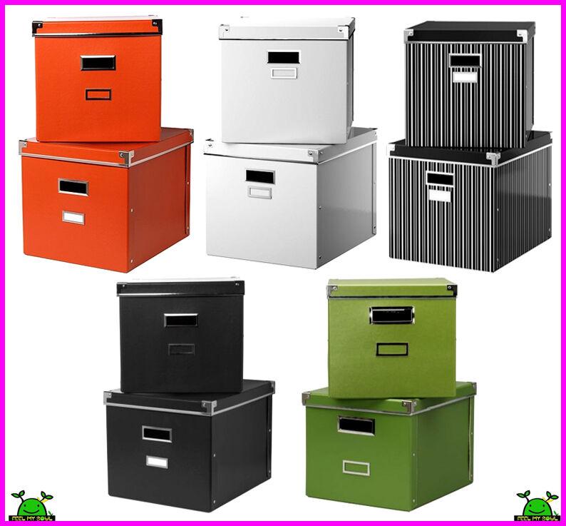 ikea kassett magazine box storage with lid 2pack ebay. Black Bedroom Furniture Sets. Home Design Ideas