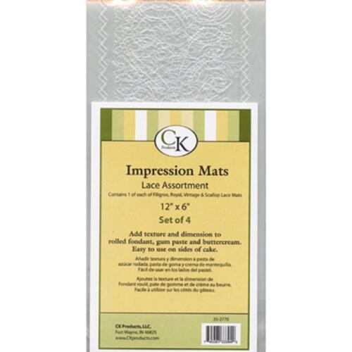 Impression Mats Assorted Lace NEW by CK 4pc cake decorating gum paste fondant in Home & Garden, Kitchen, Dining & Bar, Cake, Candy & Pastry Tools | eBay