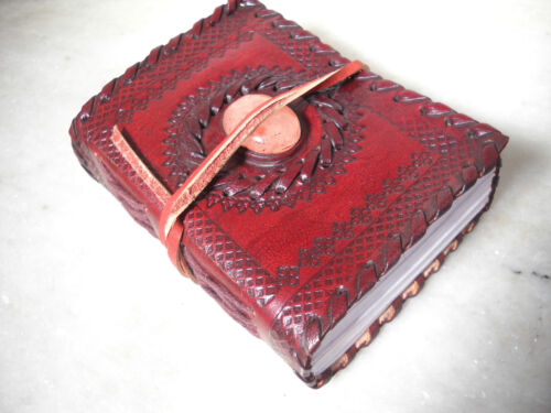 Indian Leather Journal Leather diary with Large centerstone Embossed design Gift in Books, Accessories, Blank Diaries & Journals | eBay