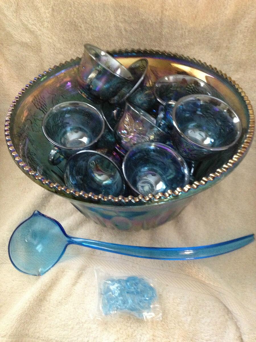 Glass Co Iridescent Blue Carnival Glass Punch Bowl 26pc Set no box