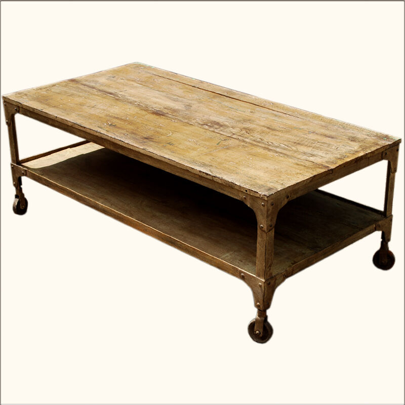 Old Reclaimed Wood Wrought Iron Rolling Wheels Coffee Table