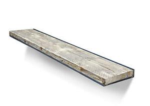 Floating Wall Shelf Steel Reclaimed Solid Wood Rustic Shelving Ebay