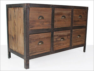 industrie design sideboard massiv anrichte vintage style kommode loft m bel 421 ebay. Black Bedroom Furniture Sets. Home Design Ideas