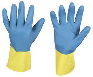 Industrie-Gummihandschuhe-mit-Verstaerkung-blau-gelb-lebensmittelgeeignet-Gr-7-11